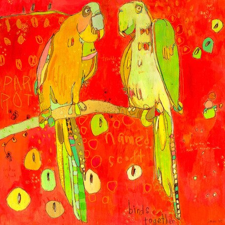 Tic - N - Talk Parrots Canvas Art by Oopsy Daisy