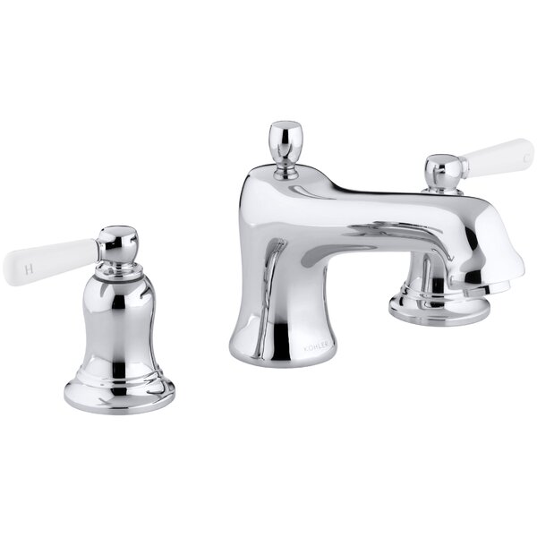 Bancroft Bath Faucet Trim for Deck-Mount High-Flow Valve with Non-Diverter Spout and White Ceramic Lever Handles, Valve Not Included by Kohler