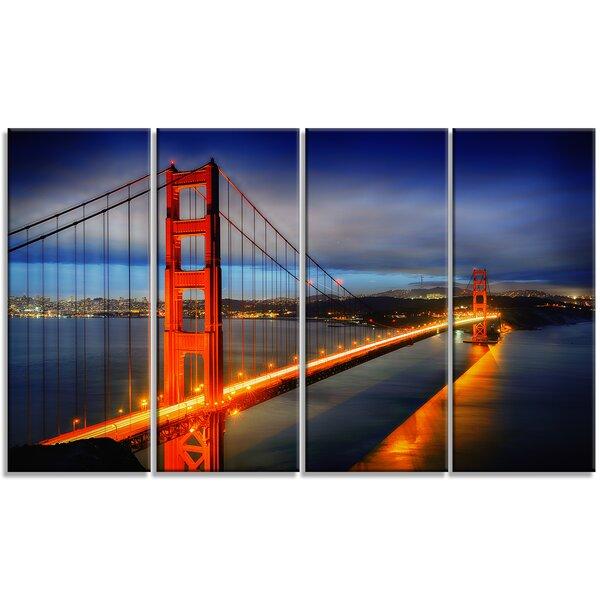Golden Gate Bridge Landscape 4 Piece Photographic Print on Wrapped Canvas Set by Design Art