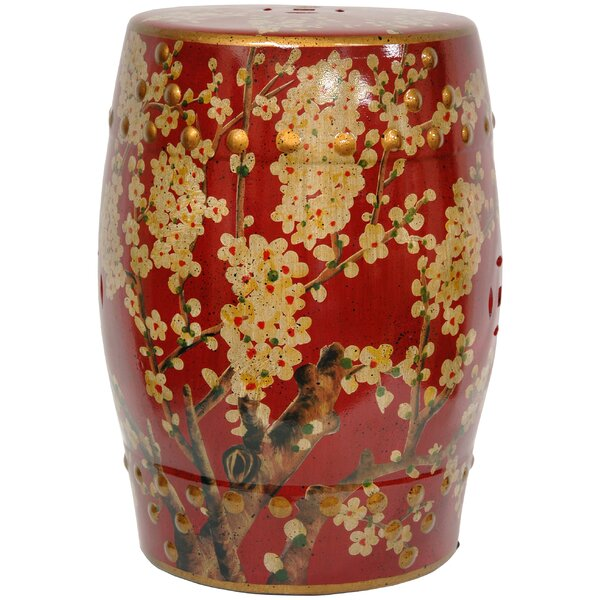 Sakura Blossom Oriental Garden Stool by Oriental Furniture