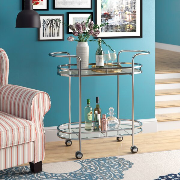 Steinmetz Modern Iron/Glass Bar Cart by Winston Porter