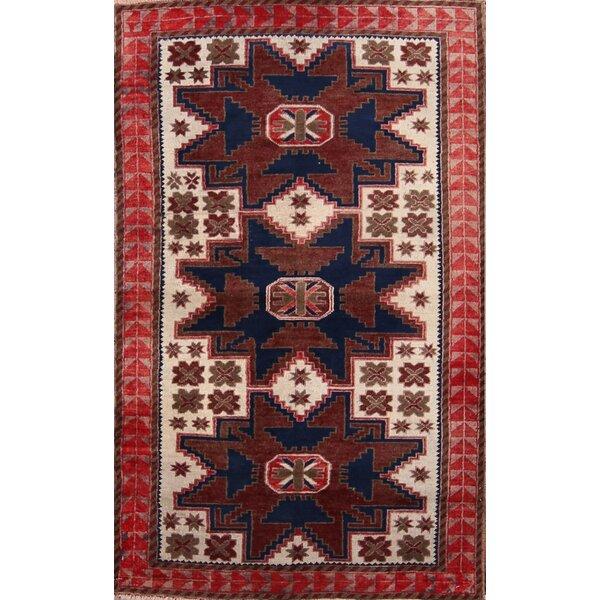 Carman Kazak Russian Vintage Oriental Hand-Knotted Wool Beige/Ivory Area Rug by Bloomsbury Market