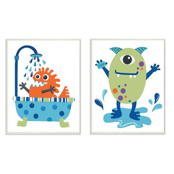 2 Piece Monsters Bathroom Buddies Wall Plaque Set by Stupell Industries