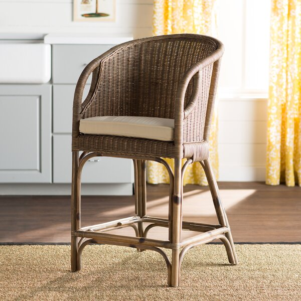 Lael 30 Rattan Bar Stool by Beachcrest Home