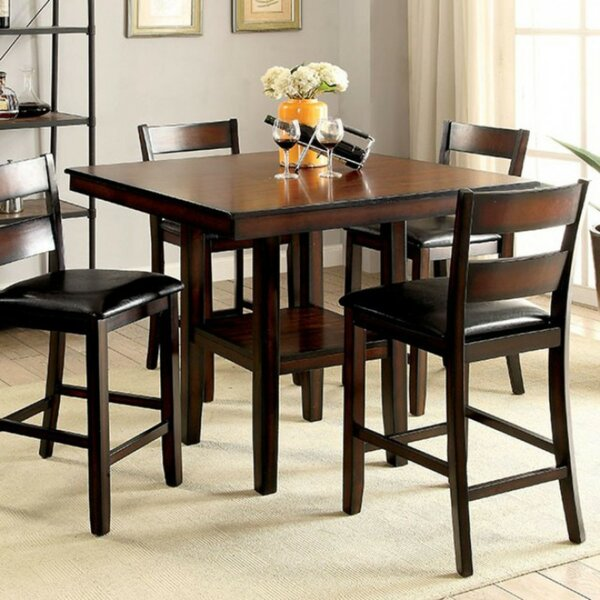 RJ 5 Piece Counter Height Solid Wood Dining Set by Red Barrel Studio