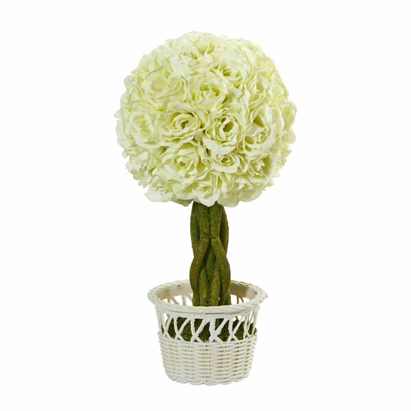 13 Rose Topiary Floral Arrangement in Wicker Pot (Set of 2) by Ophelia & Co.