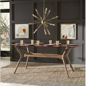 cassius trestle dining table - Dining Table Black Glass