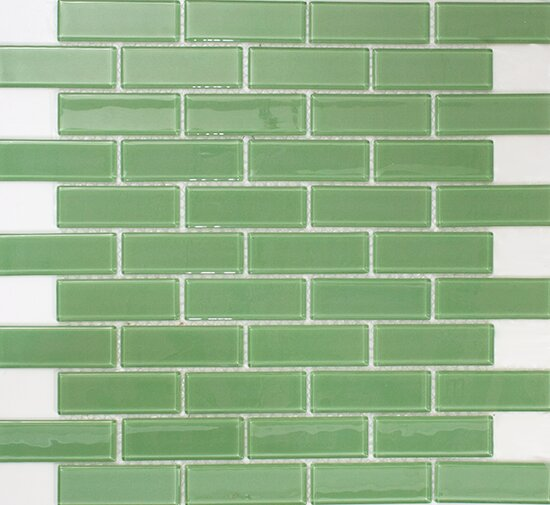 1 x 3 Glass Subway Tile in Pale Green by Susan Jablon