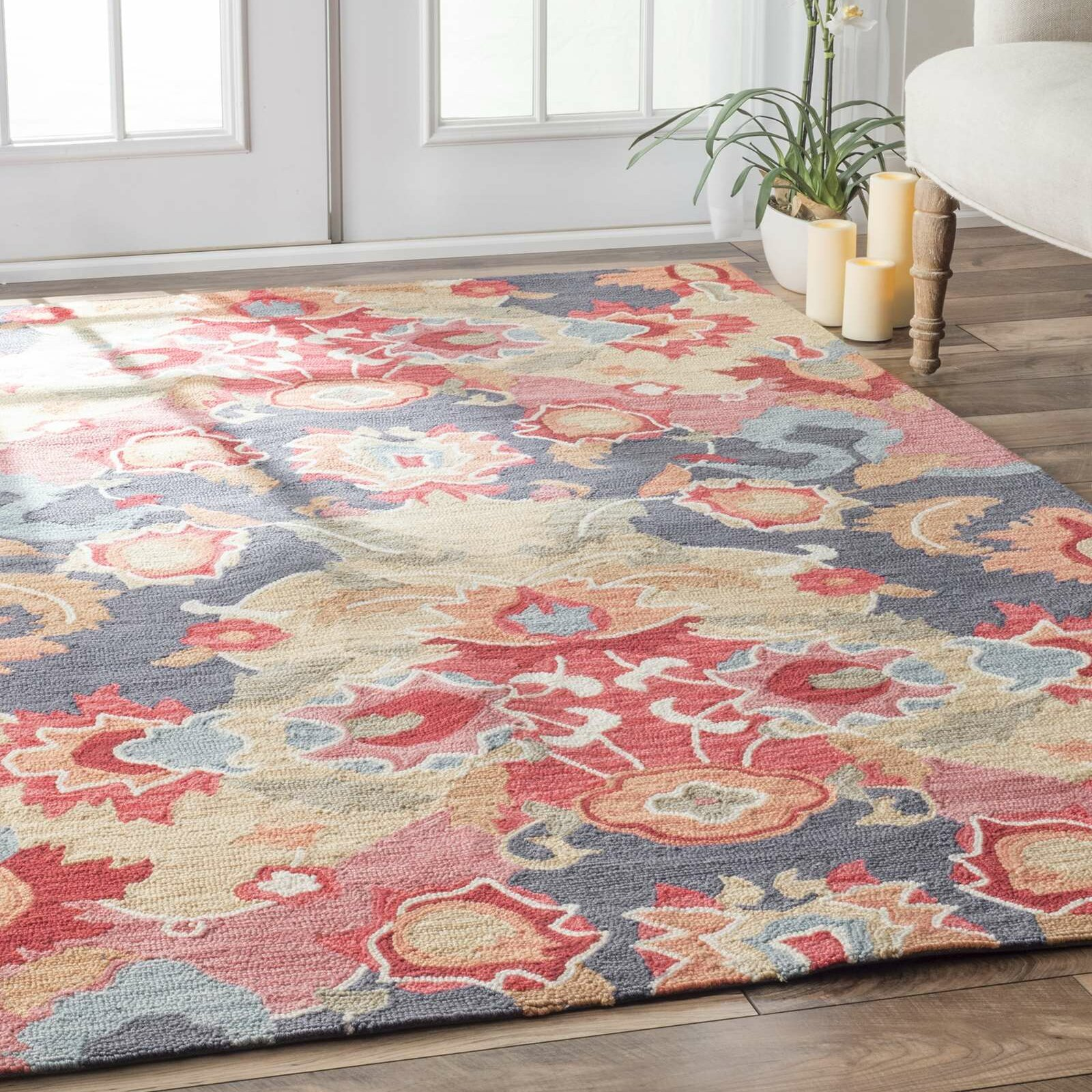 Woolrich Blue And White Floral Rug: Jean Red & Blue Floral Hand-Tufted Area Rug & Reviews