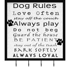 Dog Rules Wall Mounted Coat Rack by PTM