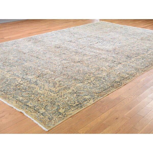 One-of-a-Kind Duquette Hand-Knotted Beige 9'8 x 14'10 Wool Area Rug