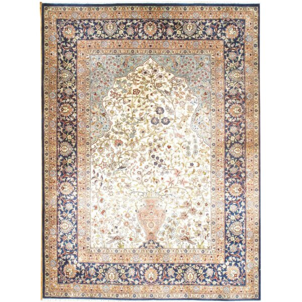 Original Sino Hand-Knotted Silk Ivory Area Rug by Pasargad NY