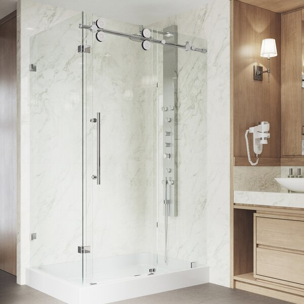 Winslow 46.5 x 79.87 Rectangle Sliding Shower enclosure with Base Included by VIGO
