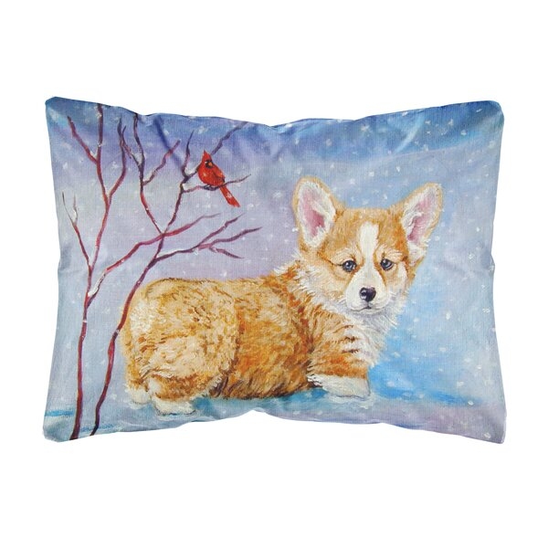 Madsen Corgi Pup Snow Cardinal Fabric Indoor/Outdoor Throw Pillow by Winston Porter