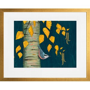 'Nuthatch Under Birch Leaves' by Kate Halpin Framed Painting Print by GreenBox Art