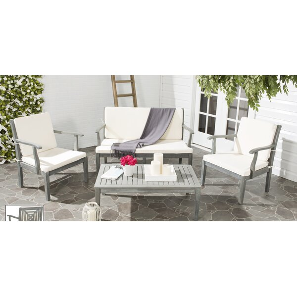 Tullia 4 Piece Conversation Set with Cushions by Highland Dunes