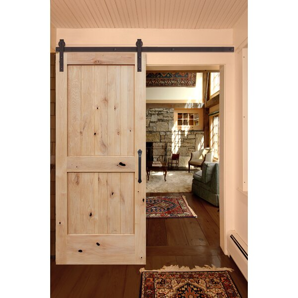 Rustic Knotty Alder Unfinished 2 Panel Solid Panelled Wood Interior Barn Door by Creative Entryways