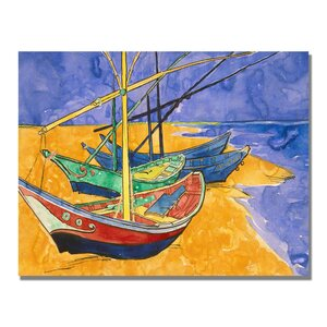 Fishing Boats on the Beach by Vincent Van Gogh Painting Print on Wrapped Canvas by Trademark Fine Art
