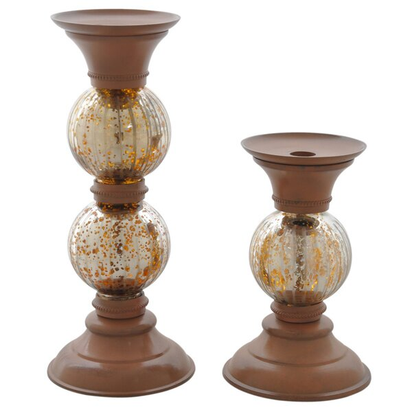 Rust 2 Piece Antique Pillar Holder Set by Fashion