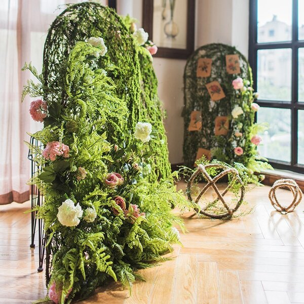 40 Rustic Handmade Arched Artificial Screen Floral Arrangement by August Grove