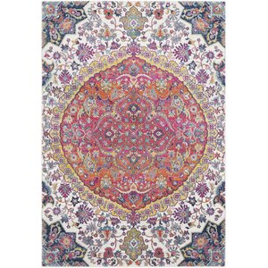 Downs Vintage Persian Medalion Oriental Pink/Blue Area Rug