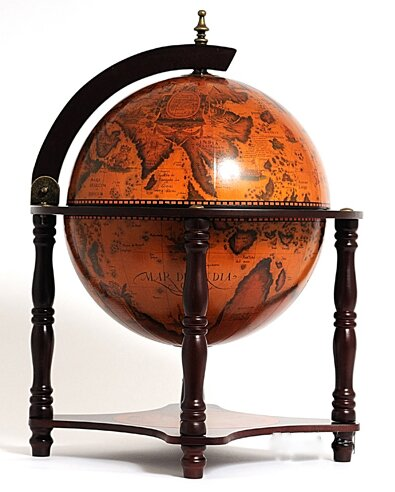 Globe Bar 4 Legged Stand-Red by Old Modern Handicrafts