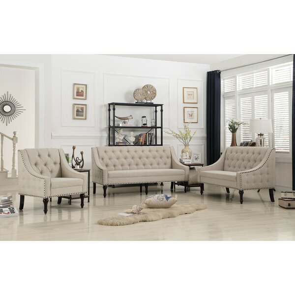 Hunley 3 Piece Living Room Set by Alcott Hill