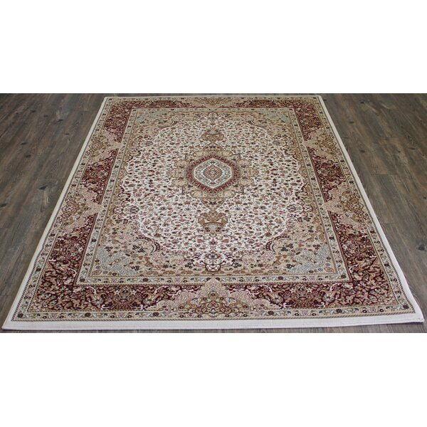 Tabriz Hand-Tufted Cream Area Rug by Rug Factory Plus