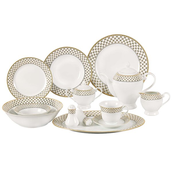 Anabelle 57 Piece Porcelain Dinnerware Set, Service for 8 by Lorren Home Trends