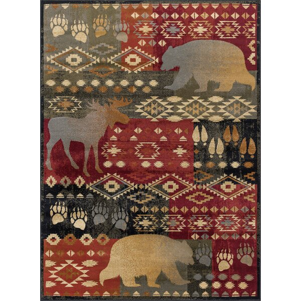 Villeda Novelty Lodge Red Area Rug by Millwood Pines