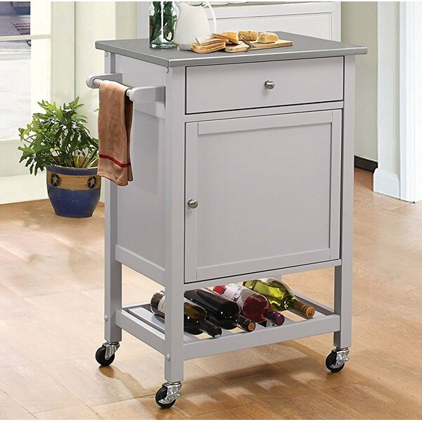 Kunkel Stainless Steel Wheeled Kitchen Cart by Alcott Hill