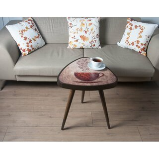 "Sowell ""Coffee"" Print Triangle Wooden End Table by Ebern Designs SKU:AB845975 Description"