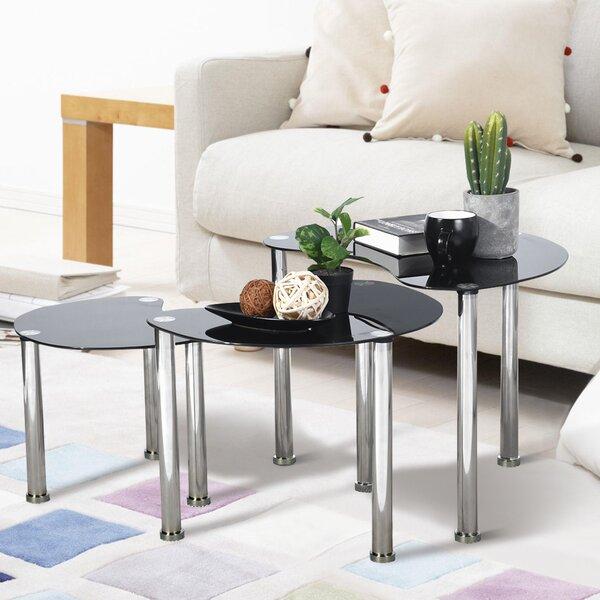 Best Sanadrug Glass Top 3 Legs Nesting Tables