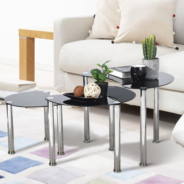 Sanadrug Glass Top 3 Legs Nesting Tables By Orren Ellis