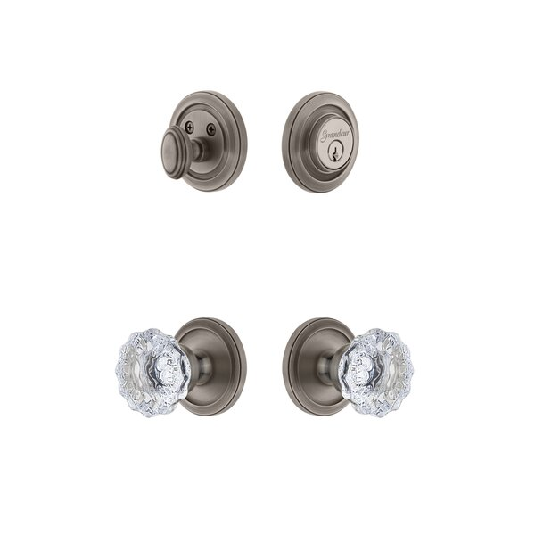 Circulaire Single Cylinder Knob Combo Pack with Fontainebleau Knob by Grandeur