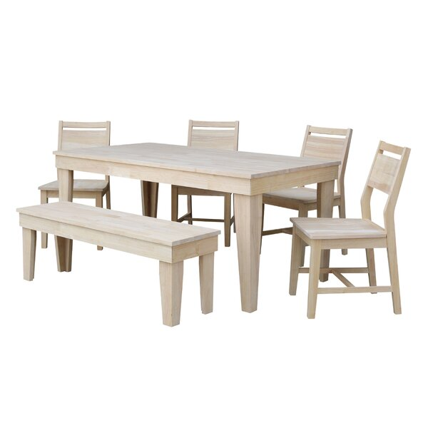Theodosia Fixed Top 6 Piece Solid Wood Dining Set by Highland Dunes