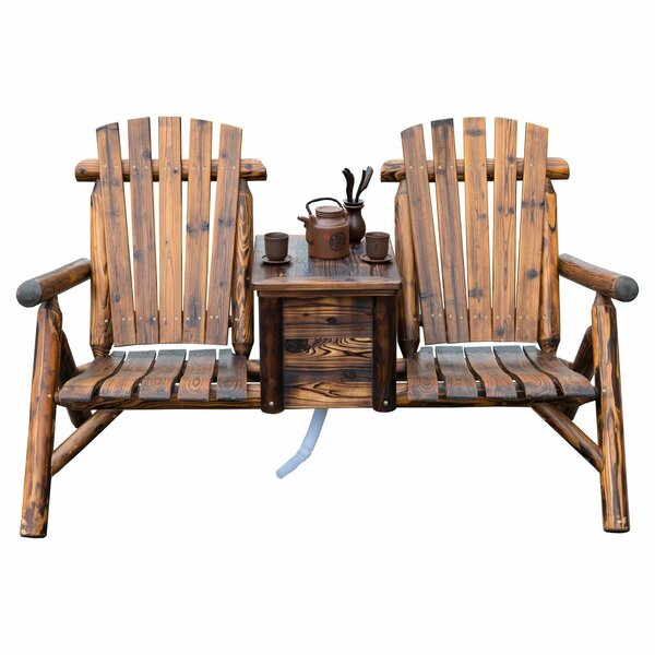 Gwen Solid Wood Double Adirondack Chair with Table by Millwood Pines