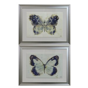 Butterfly 2 Piece Framed Painting Print Set by Selectives