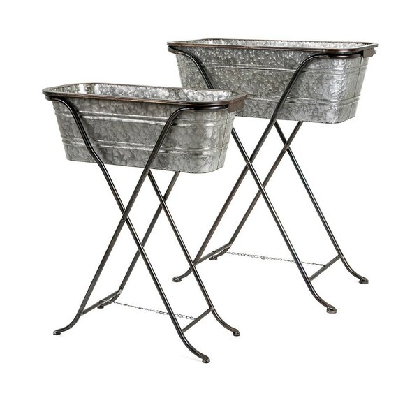 Pumphrey Galvanized 2-Piece Metal Pot Planter Set on Stand by Gracie Oaks