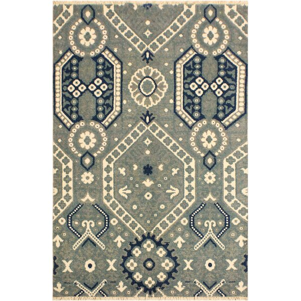 One-of-a-Kind Aahil Hand Knotted Wool Gray/Blue Area Rug by Isabelline