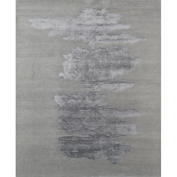 Modern Silk/Wool Hand-Knotted Dark Gray Area Rug by Pasargad
