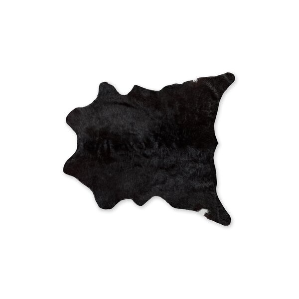 Hagerman Hand-Woven Cowhide Black Area Rug by Bloomsbury Market