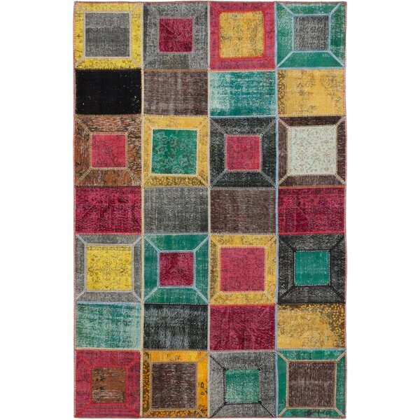 One-of-a-Kind Hand-Knotted Dark Burgundy/Teal Area Rug by ECARPETGALLERY
