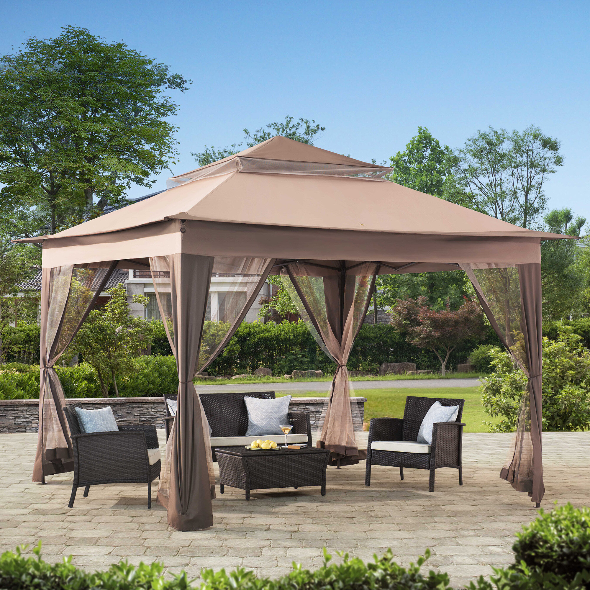 Sunjoy 10 Ft. W x 10 Ft. D Steel Patio Gazebo & Reviews | Wayfair on