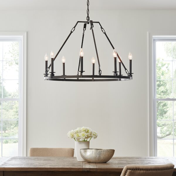Castelli 8 - Light Candle Style Wagon Wheel Chandelier by Gracie Oaks Gracie Oaks
