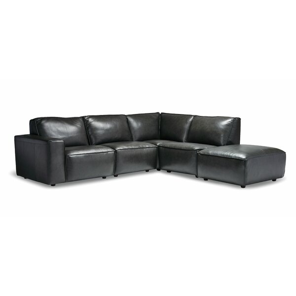 Chiraca Leather Right Hand Facing Modular Sectional By Ebern Designs