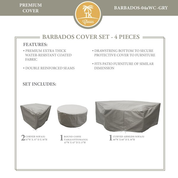 Barbados 4 Piece Water Resistant Patio Sofa Cover Set by TK Classics