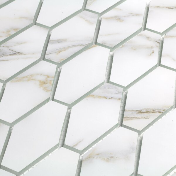 Musico Hexagon 2 x 2 Glass Mosaic Tile in Gold/White by Abolos