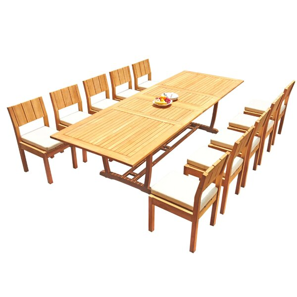 Fillmore 11 Piece Teak Dining Set by Rosecliff Heights