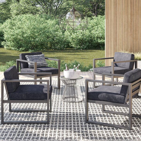 Mirando Patio Chair with Cushions (Set of 4) by Mercury Row Mercury Row